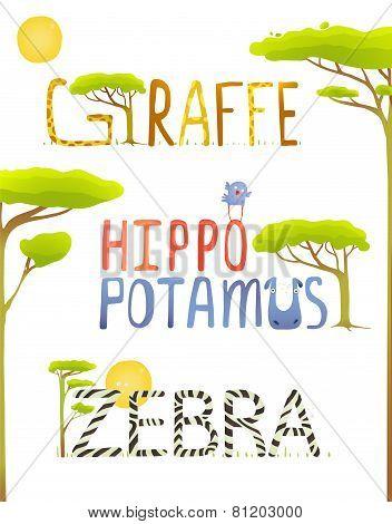 African Animals Hippopotamus Giraffe Zebra Fun Lettering