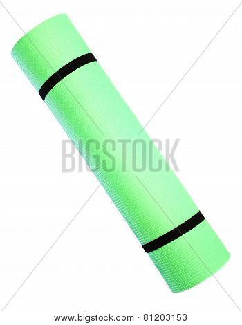 Lightweight foam Yoga Mat roll isolated on white background. Sport