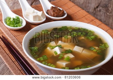 Japanese Miso Soup In A White Bowl And Ingredients Close-up. Horizontal
