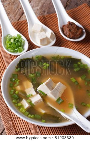 Japanese Miso Soup In Bowl With A Spoon Horizontal