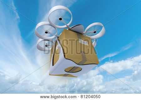 3D rendering of a flying drone carrying a box against a blue sky