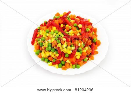 Bowl of Colorful Frozen Vegetables