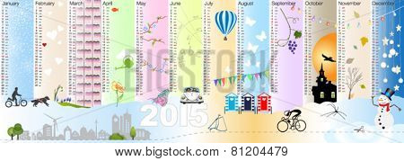 Simple two thousand fifteen season calendar vector with pretty illustrations