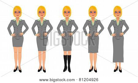 Blonde business woman grey skirt suit hands on hips