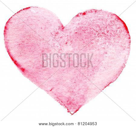 Watercolor Painted Red Heart Symbol  For Your Design. Heart Shape For Valentines Day Love Symbols.