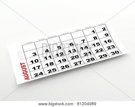 August 2015 calendar page