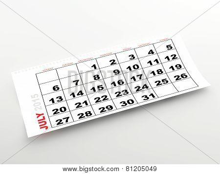 July 2015 calendar page