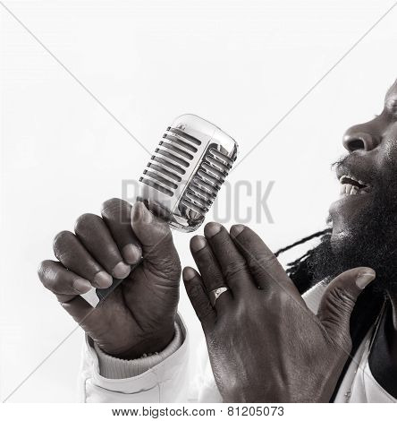 Jazz Singer With A Retro Mic