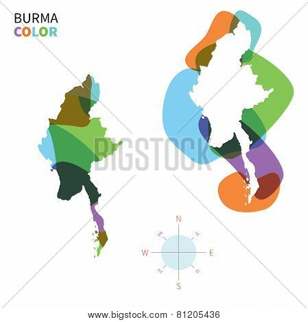 Abstract vector color map of Burma with transparent paint effect.