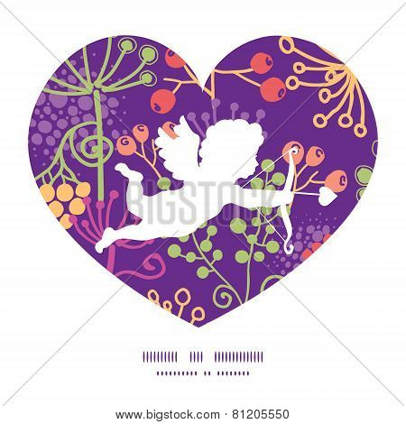 Vector garden cupid silhouette frame greeting card template