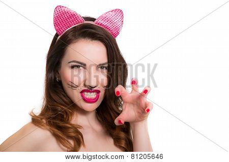 Catwoman Make-up On Attractive Hot Model. Pink Lipstick, Nailpolish Isolated On White