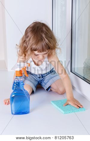 Child Washing Windows.