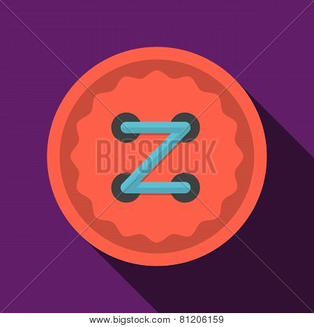 Flat color icon for red button