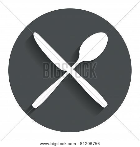 Eat sign icon. Cutlery symbol. Knife and spoon.