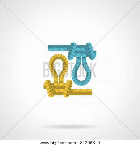 Flat icon for colored rope knot