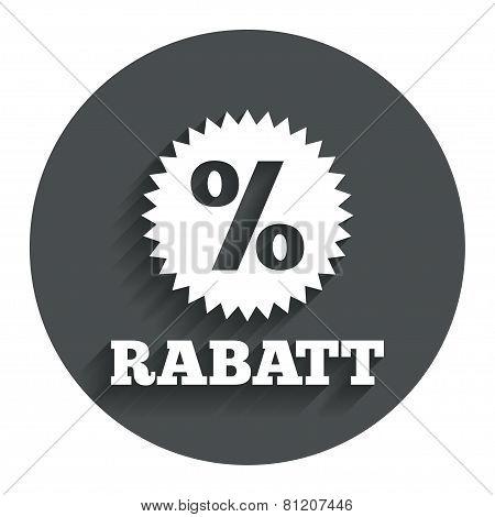 Rabatt - Discounts in German sign icon. Star.