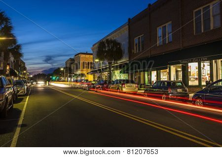 BEAUFORT, SOUTH CAROLINA-FEBRUARY 24, 2014: Traffic drives past the downtown historic district of Beaufort, South Carolina in this time exposure.