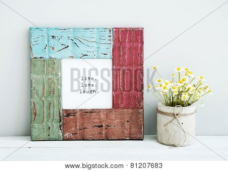 Colored Red, Gree, Blue Frame With Chamomile Live, Love, Laugh
