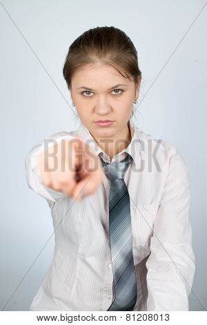 Young Businesswoman Pointing