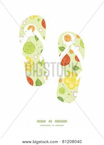 Vector fresh salad flip flops silhouettes pattern frame