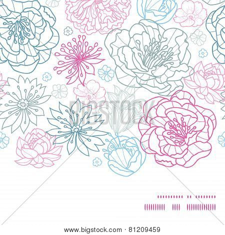 Vector gray and pink lineart florals horizontal frame seamless pattern background