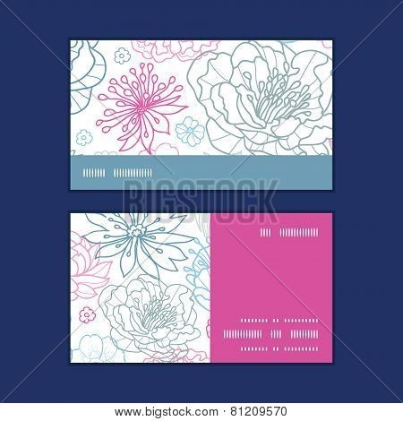 Vector gray and pink lineart florals horizontal stripe frame pattern business cards set