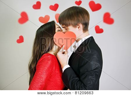 Couple In Love Tenderly Kissing
