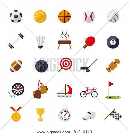 Sports icons flat design isolated vector set. Collection of 25 flat design sports and gymnastics vector icons isolated on white background