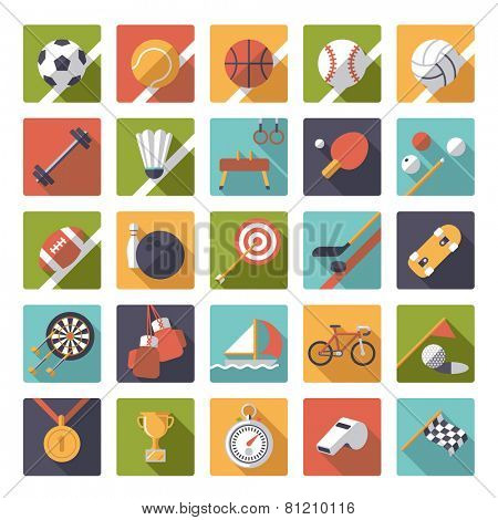 Square sports icons flat design vector set. Collection of 25 flat design sports and gymnastics vector icons in square shape with rounded corners.