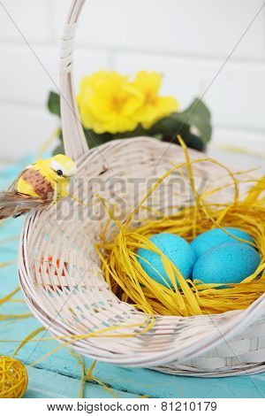 Turquoise Eggs In The Nest