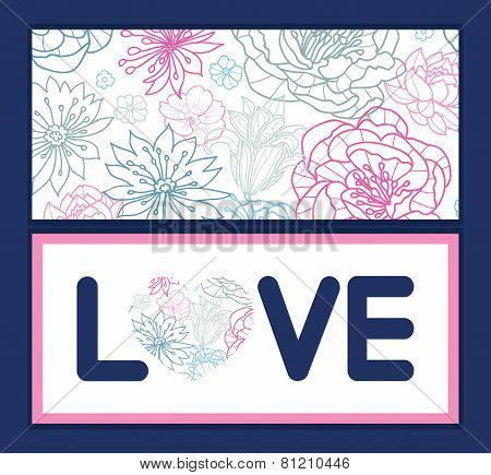 Vector gray and pink lineart florals love text frame pattern invitation greeting card template