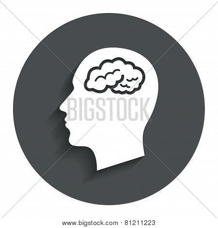 Head with brain sign icon. Male human head.