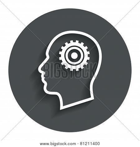 Head with gear sign icon. Male human head.