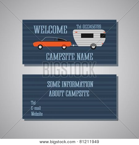 Professional And Designer Campsite Card Template Or Visiting Card Set. Front And Back View. Car And