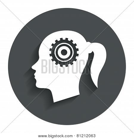 Head with gear sign icon. Female woman head
