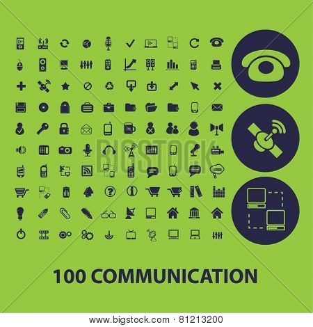 100 communication, connection, internet, network, phone, smartphone, mobile, interface icons, signs, illustrations set, vector
