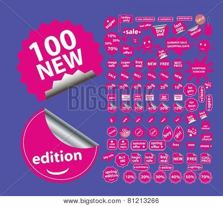 sale, shopping, store, shop, ecommerce, retail stickers, icons, signs, illustrations set, vector
