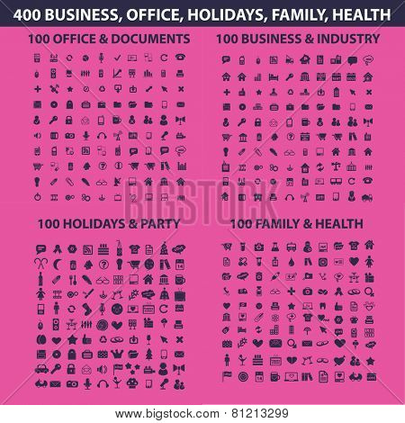 400 business, office, holidays, family, health, holidays, industry, business icons, signs, illustrations set, vector