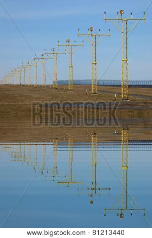 Runway Lights With Water Refections