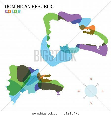 Abstract vector color map of Dominican Republic with transparent paint effect.