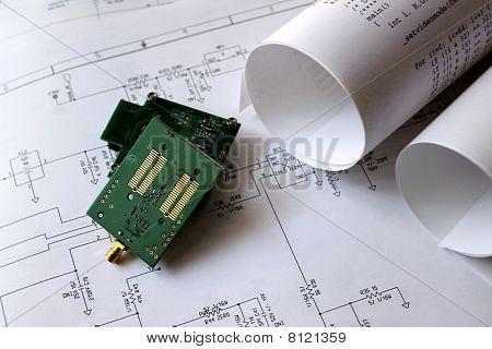 Placa de circuito impreso, circuito diagrama