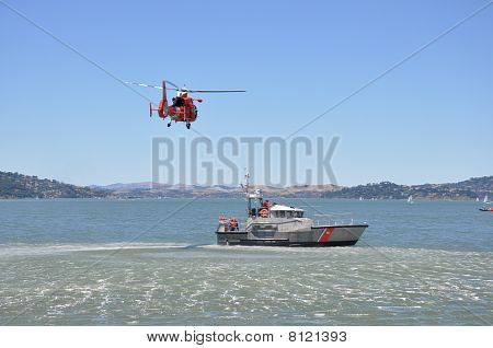 Rescue helicopter and rescue boat