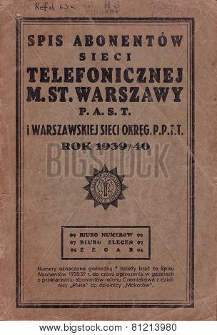 1939 WARSAW POLAND TELEPHONE DIRECTORY