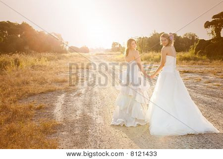 Bride And Bridesmaid On A Country Road