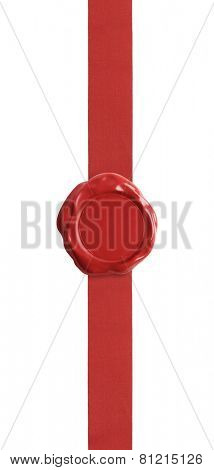 Red wax seal with ribbon certificate isolated on white