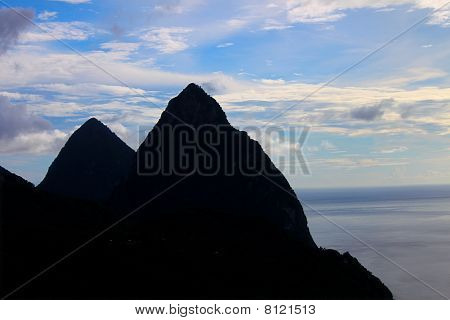 Silhouette of the Pitons