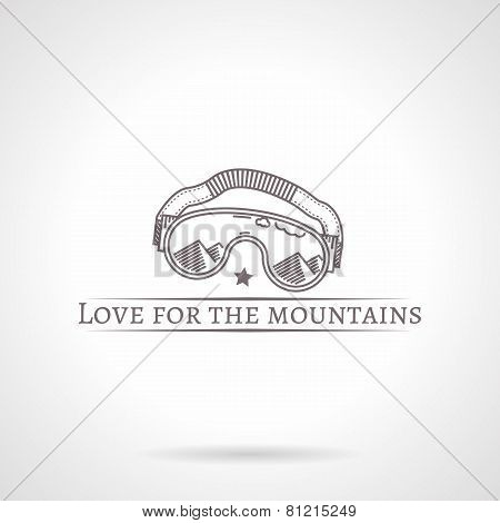 Abstract vector illustration of goggles icon with text