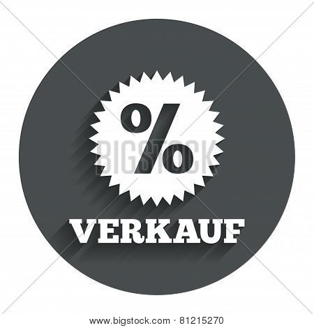 Verkauf - Sale in German sign icon. Star.