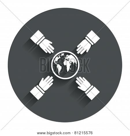 Hands reach for earth sign icon. Save planet.