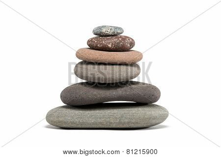 Colorful Stone Cairn Isolated On White
